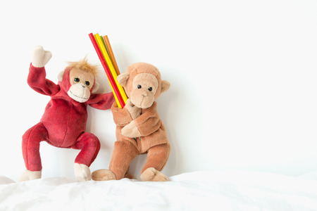 Cute monkey is holding pencils, He would like to draw everything in his mind. Stock Photo