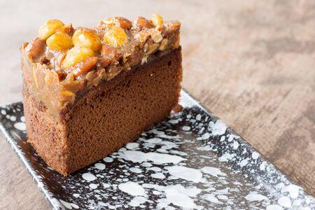 Tasty macadamia caramel cake Stok Fotoğraf