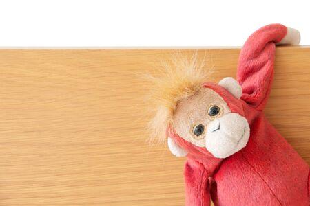 Mono travieso está atrapando en el tablero de madera Foto de archivo
