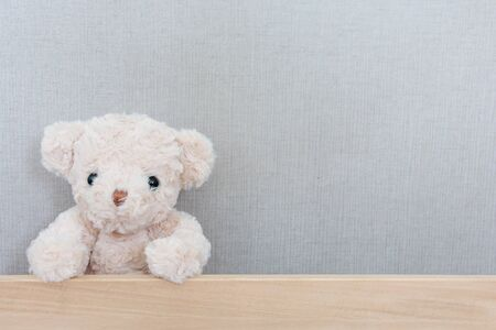 A cute teddy bear is catching on wood board on grey background