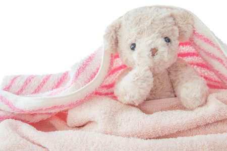 Cute teddy bear play hides and seeks with fabric, Happy feel concept. Imagens