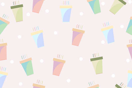 Seamless pattern is a cute coffee cup is colorful background