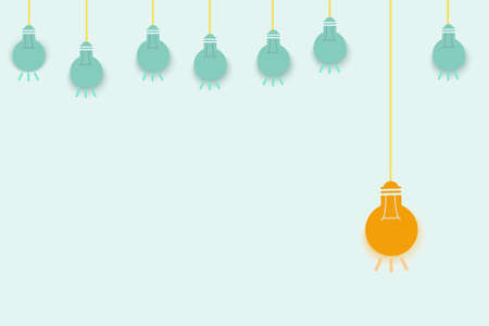 A hanging light bulb with pastel color background.