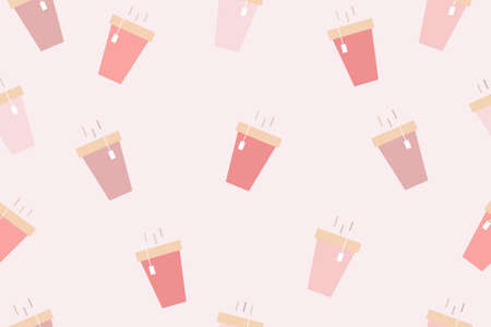Seamless pattern is a cute coffee cup is pastel background