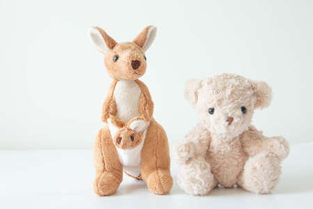the cute little teddy bear and kangaroo are so happy with feeling relax and happy.