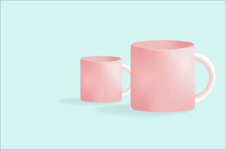 A couple of coffee cup mug is a sweet color, Fresh morning with beverage simple day.
