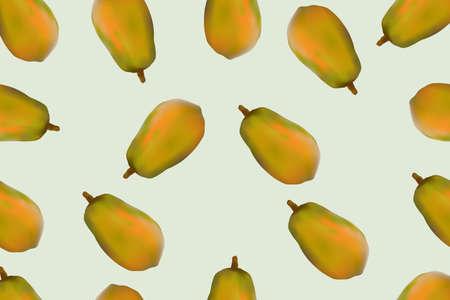 Seamless pattern sweet papaya fruits on pastel background