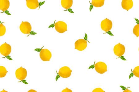 Creative seamless pattern lemon on white background.