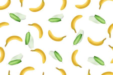 the seamless a banana and leaf pattern is a background Illusztráció