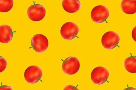 Seamless pattern fresh red tomato on a colorful background