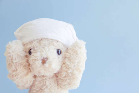 A cute teddy bear smiling and looking at the camera for a good portrait of beautiful Stockfoto - 154221261