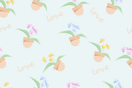 a cute seamless pastel flower in potted. Stock Illustratie