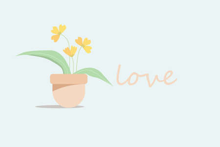 a cute pastel flower in potted with love Stock Illustratie