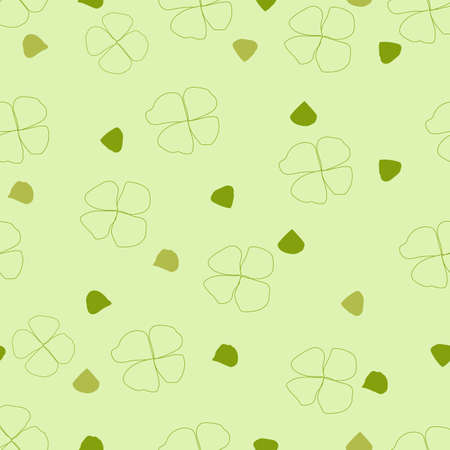 cute seamless green flower petals on pastel background.