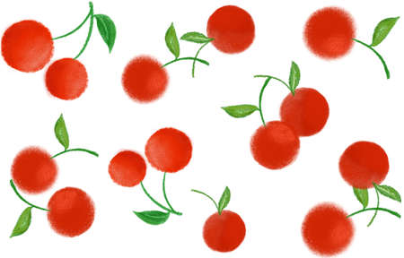 The red cherries are a pattern background, A colorful fruits for print design on fabric.