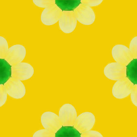 A bright daisy on a yellow background, flower for print design on fabric. Stockfoto