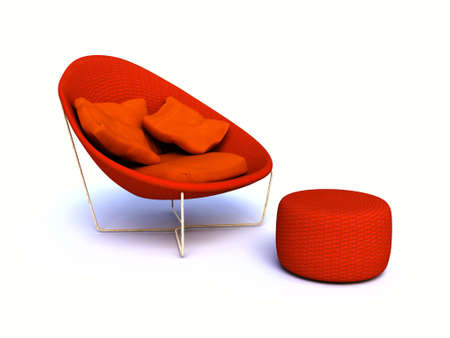 hassock: round armchair with padded stool