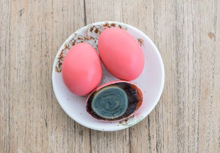 albumen: Century egg , Pidan , Preserved egg  : egg prepared by soaking in quick lime which turns the albumen and yolk to black