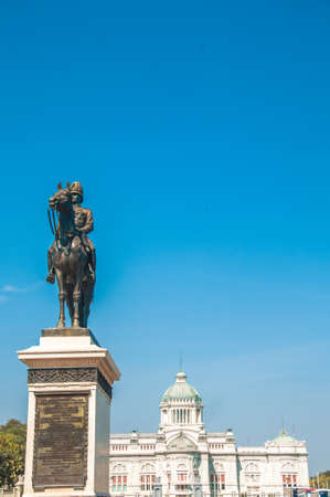 The Equestrian Statue of King Chulalongkorn and The Anantasamakhom Throne Hall with blue sky background, Bangkok, Thailand