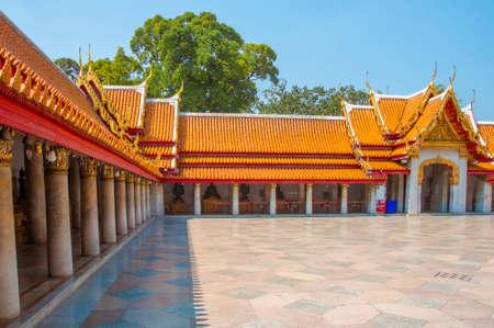 The Marble Temple, Wat Benchamabophit Dusitvanaram with blue sky background , Bangkok THAILAND