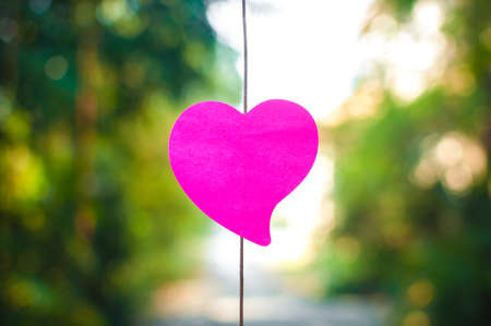 Blank note pad or sticky notes pink with bokeh sunlight outdoor background,Happy valentine day.