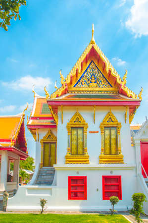 Songphanuad Hall , Phrathinanagsongphanuad at the Marble Temple, Wat Benchamabophit Dusitvanaram with blue sky background , Bangkok THAILAND Editorial