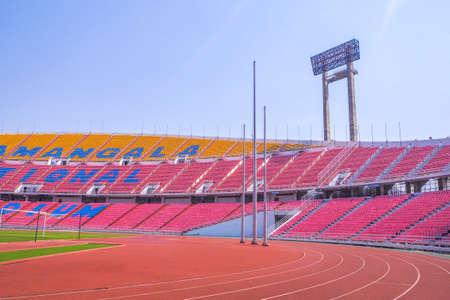hua: Rajamangala National Stadium ,Inside Football Stadium at Bangkok, Thailand with blue sky background