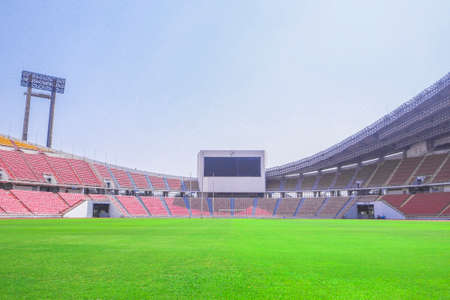 Rajamangala National Stadium ,Inside Football Stadium at Bangkok, Thailand with blue sky background