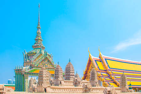 The model of Angkor Wat of Cambodia with Temple and Blue Sky Background at Wat Phra Kaew, Bangkok, Thailand.