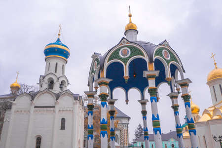 blessed trinity: Cathedral of the Assumption of the Blessed Virgin Mary. Holy Trinity St. Sergius Lavra. Sergiev Posad, Russia with blue sky background