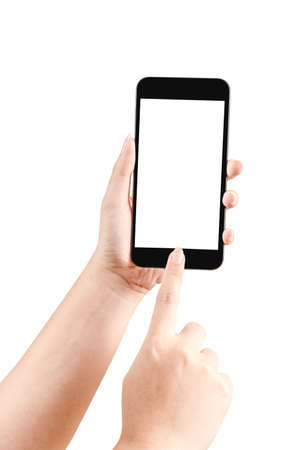 Close up hand holding black phone isolated on white background. Can use for show your media or product. Imagens