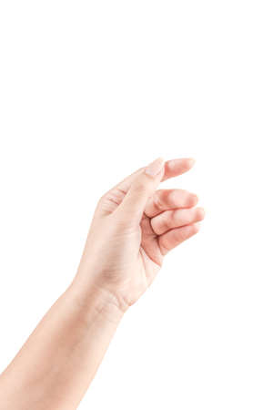 Close up Hand and arm  on white  background. Can use for isolated or Show your product.