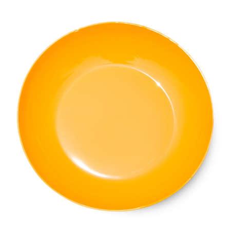 Plaque de céramique vide isolée sur fond blanc avec un tracé de détourage.