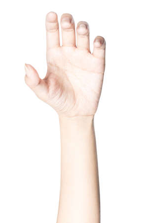 Close up hand holding something like a bottle or can isolated on white background with clipping path. Banque d'images