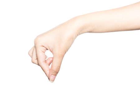 Hand halten virtuelle Visitenkarte, Kreditkarte oder leeres Papier isoliert auf weißem Hintergrund mit Beschneidungspfad. Standard-Bild