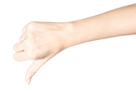 Closeup of hand showing thumbs up sign isolated on white background with clipping path.