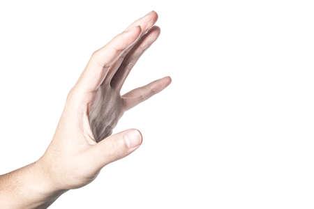 Main ouverte et prête à aider ou à recevoir. Geste isolé sur fond blanc avec un tracé de détourage. Secourir la main tendue pour le salut.