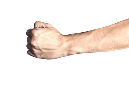 Chiudere il braccio e la mano visibili delle vene isolate su uno sfondo bianco con un tracciato di ritaglio