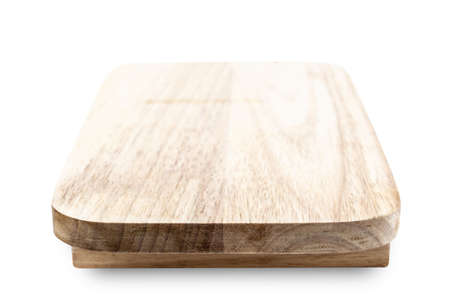Empty wooden plate isolated on white background