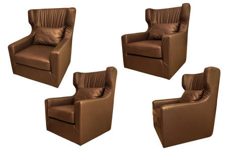 Close up group of brown sofa isolated on white background with clipping path. 写真素材
