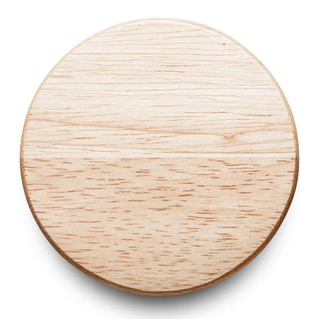 Empty wooden plate isolated on white background with clipping path.