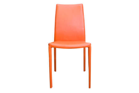 Close up orange chair isolated on white background with clipping path.