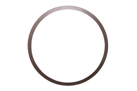 Close up brown circle  mirror isolated on white background with clipping path.