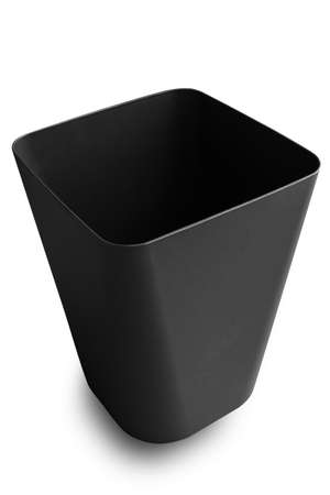 Close up black bin basket with clipping path isolated on white background. Stok Fotoğraf