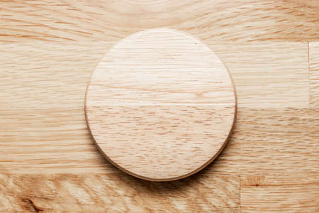 Empty wooden plate with the soft wood background. can be use for kitchen concept. Stok Fotoğraf