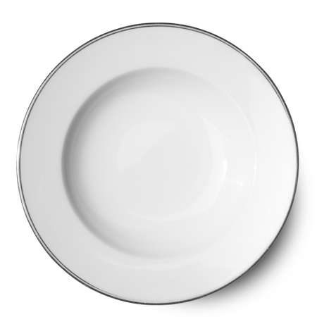 Empty white ceramics plate isolated on white background with clipping path.