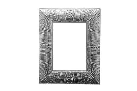 Close up silver frame isolated on white background with clipping path.