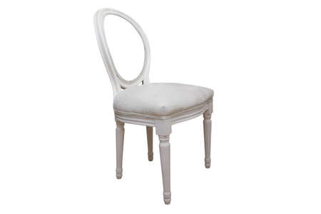 Close up white chair isolated on white background with clipping path. Stok Fotoğraf