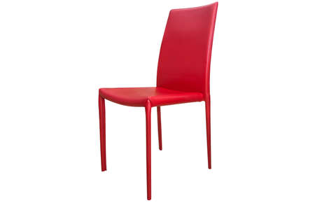 Close up red chair isolated on white background with clipping path.
