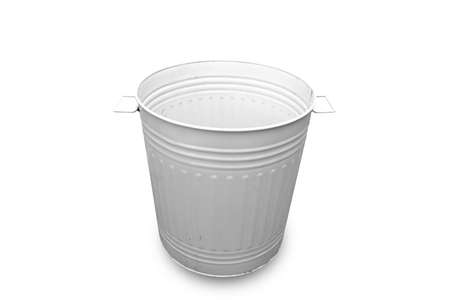 Close up white bin basket with clipping path isolated on white background.